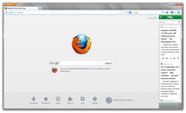 Cliqz во Firefox 21